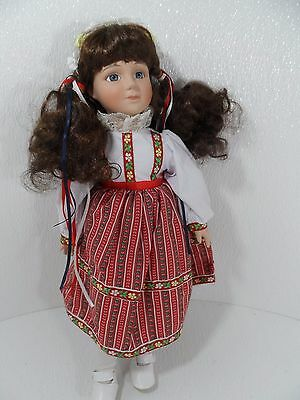 """Beautiful Brunette Porcelain Doll w/Red/White Dress 16"""" Tall - VGC"""