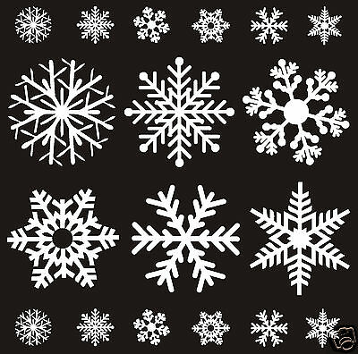 72 White Reusable Christmas Snowflake Window Stickers Clings Decorations  Decal