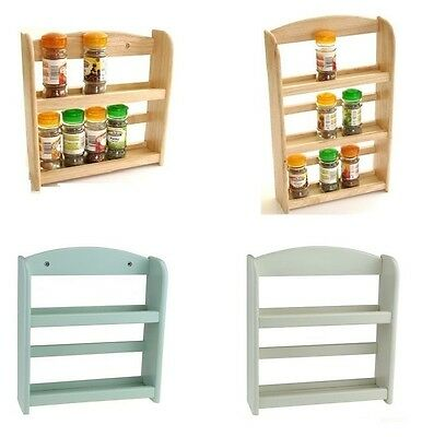 2 or 3 Tier Wooden Spice Herb Rack Jar Storage Holder Free Standing/Wall Mounted