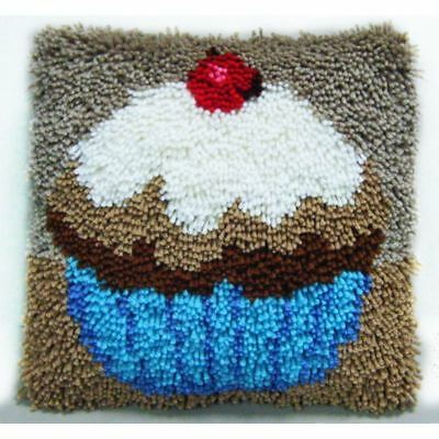 Hobbycraft Cupcake Latch Hook Kit 30 x 30cm Cushion Cover Rug Making Set