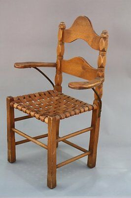 1910s Rancho Monterey Armchair Woven Leather Seat Iron Arm Supports (7970)
