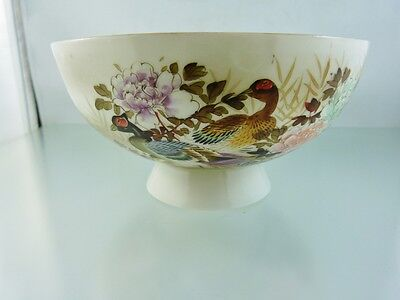 Eggshell Porcelain Hand-Painted Colorful Geese Footed Bowl By E L  Japan