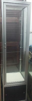 """80"""" Silver & Black Display Case with 3 Shelves and Lock & Key"""
