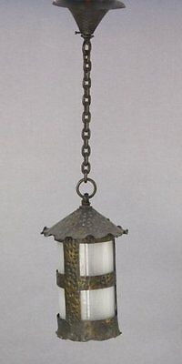 1920s Hammered Pendant Light w Original Glass Fits Arts & Crafts Monterey (7940)