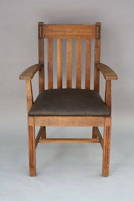 1910 Handsome American Armchair Leather Seat Oak Fits Arts & Crafts (7935)