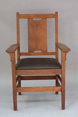 1910 Stickley ArmChair Leather Seat H Back Pegged Fits Arts & Crafts (7934)