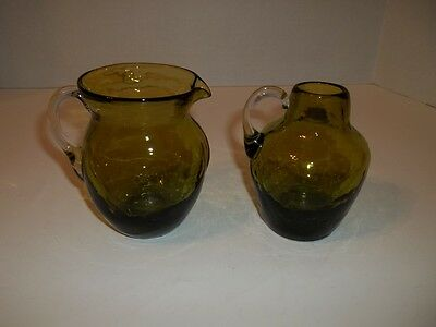 "Set Of 2 Vintage Green Glass Pitchers 3 3/4"" Tall"