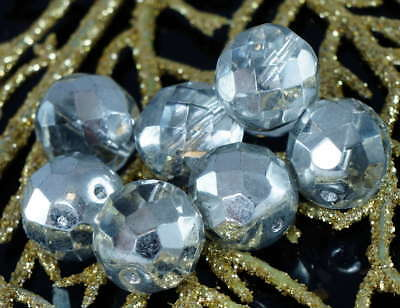 10pcs Large Crystal Silver Half Czech Glass Faceted Round Beads Fire Polished 12