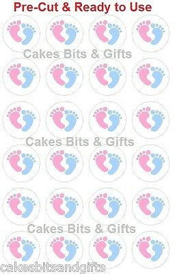 24 x BABY FEET Edible Cupcake Cake Toppers Baby Shower Pre Cut & Ready to Use