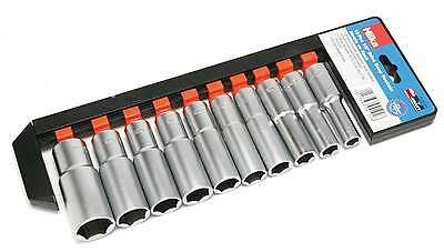 "10PC Deep Socket Set Long reach Sockets on Rail 1/2"" Drive HILKA or ROLSON"