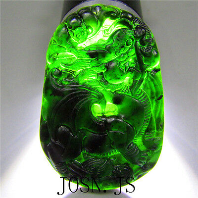 Natural chinese black green Jadeite jade dragon pendant necklace hand- carved
