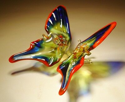 "Blown Glass Figurine ""Murano"" Art Red, Blue and Green BUTTERFLY"