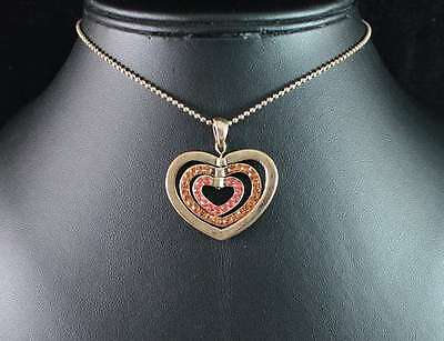 Heart Pendant Golden Austrian Rhinestone Crystal Necklace Choker Chain Gift