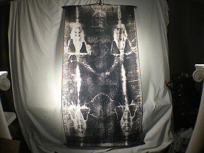 Shroud of Turin Full Size Body Negative on Linen Cloth 6 x 3 feet with Wood Hold