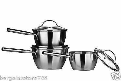 3 Piece Stainless Steel Cooking Pan Set Tenzo Induction Conical Glass Lid Three