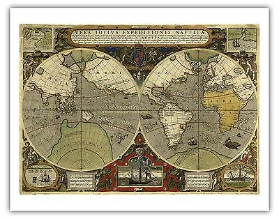 World Map Print Fabric.Cotton Expedition World Map Ocean Routes Vintage Cotton Fabric Print