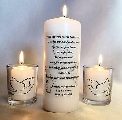 Personalised Memorial Remembrance Absence Candle Wish You Were Here Wedding Day