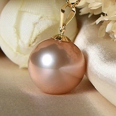 Genuine Pearl Pendant Real Solid 18K Gold Freshwater Perfect Round Peach NEW