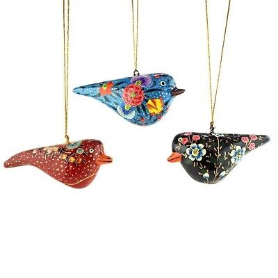 "3.5"" (L) Set of 3 Red, Blue and Black Birds Wooden Christmas Ornaments"