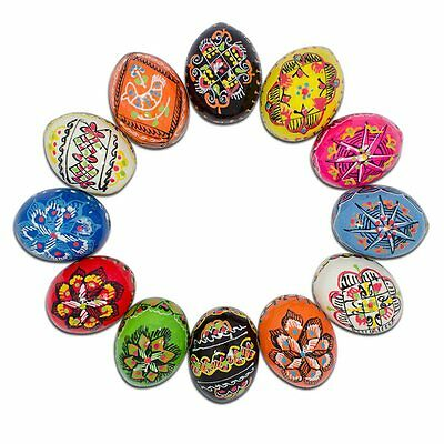 """1.5"""" Set of 12 Hand Decorated Ukrainian Wooden Easter Eggs Pysanky"""