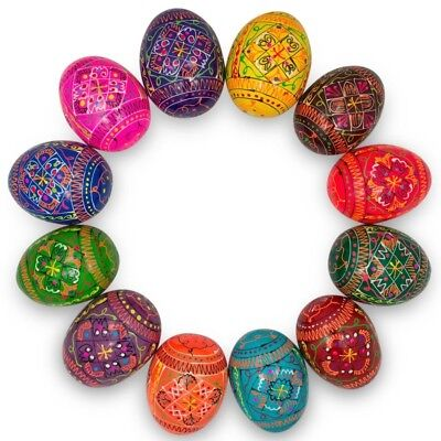 "2.5"" Set of 12 Hand Painted Wooden Pysanky Ukrainian Easter Eggs"