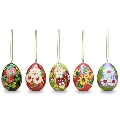 "2.5"" Set of 5 Floral Wooden Pysanky Easter Egg Ornaments"