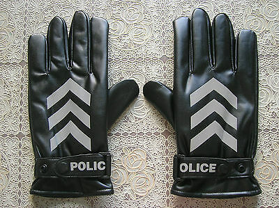 99's series China Police Winter PU Leather Safety Reflective Gloves,Black.