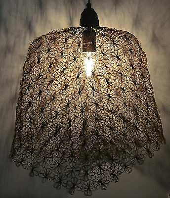 Industrial Retro Vintage Style Wire Cage Pendant Light Shade- Whitewash Flowers