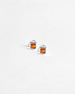 Natural Amber Sterling Silver 925 Square Stud Earrings Free Gift Bag