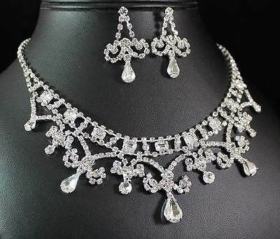 Ab89184 Clear Austrian Rhinestone Crystal Necklace Earrings Set Wedding Prom