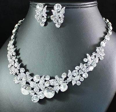 Ab89175 Clear Austrian Rhinestone Crystal Necklace Earring Set Bridal