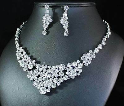 Ab89176 Clear Austrian Rhinestone Bib Necklace Earrings Set Bridal Wedding