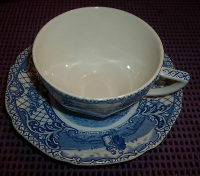 Crown Ducal England Blue COLONIAL TIMES  Saucer/Tea cup