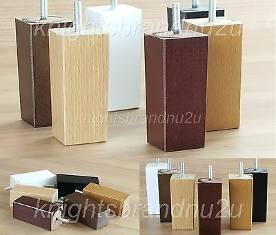 4x BLOCK WOOD REPLACEMENT FURNITURE LEGS/FEET - SOFAS, SETTEES, CHAIRS M8(8mm)