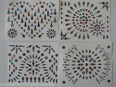 100+ (Approx) Colourful Diamante Bindis - Stick On Indian Body Art Jewel Bridal