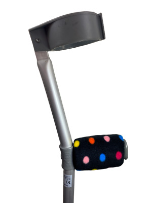 Comfy Crutch Handle Covers! HIGH QUALITY! Padded & Cushioned - Black Multi Spots