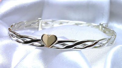 4 Sizes Baby Childs Quality Handmade Celtic Gold Heart Silver Bangle Christening