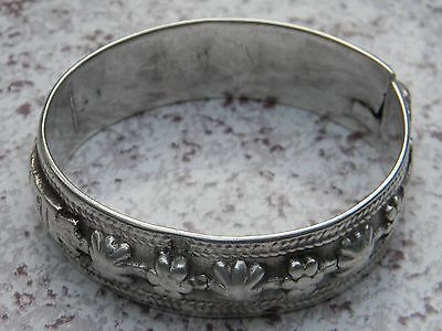 Heavy Antique French Cast Silver Bracelet 19th Century