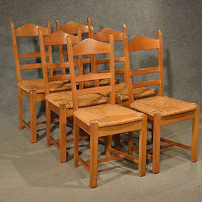Oak Chairs Set 6 Kitchen Dining Country Quality Ladderback Rush Seating 20th C
