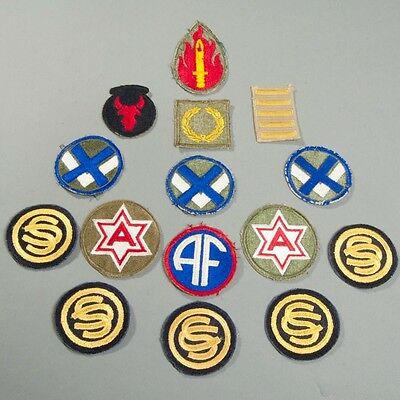 Lot of 15 US Military WWII Patches 63rd & 34th Infantry Overseas Bars + MORE!
