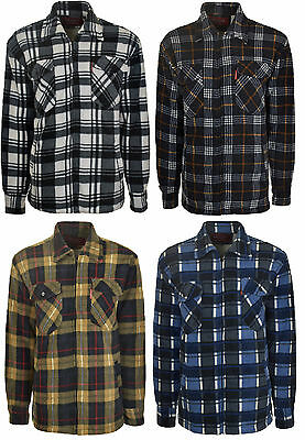 Men's Lumberjack Padded Quilted Check Warm Winter Work Shirt/Jacket Coat S-3XL