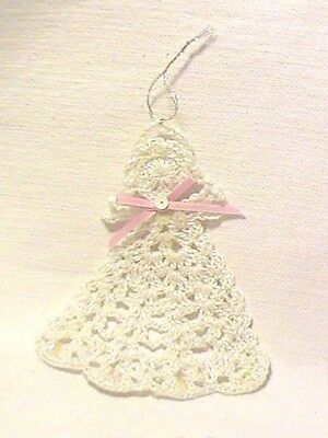 Handcrafted Crocheted Angel Ornament-with Opalescent/pink bow Thread/Sequins USA