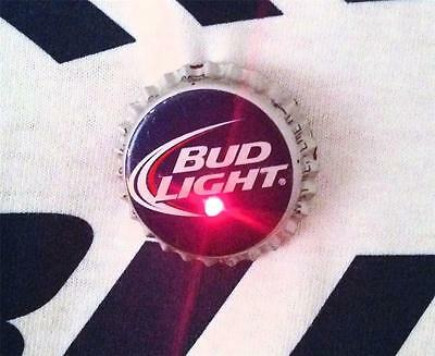 SET OF 3 BUD LIGHT BEER Blinking Flashing Bottle Cap Pin Party Costume Accessory