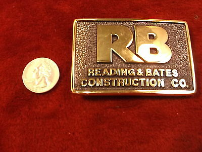 """Nos, Mint Cond """"Rb - Reading & Bates Construction Co"""" Solid Brass Belt Buckle"""