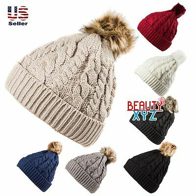 fee4e174d15 Unisex Knit Winter Warm pom-pom Beanie Hat Cap with Fur Twist Cable inside
