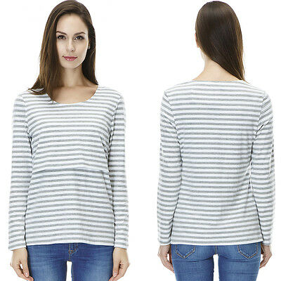 New Maternity Breastfeeding Clothes Striped Long Sleeve Fall&Winter Nursing Tops