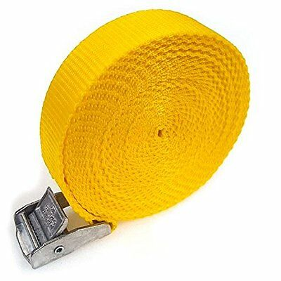 8 Buckled Straps 25mm Cam Buckle 5 meters Long Heavy Duty Load Yellow 250kg