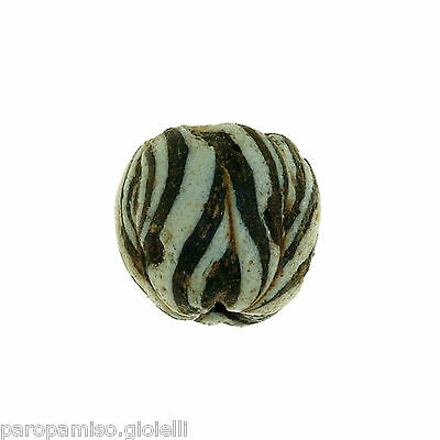 Early Islamic Folded Glass Bead  -  DAMAGED  -  (0843)