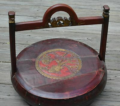 Chinese  Antique Red Wedding/Candy/Cookie Wood Basket -For Repairs