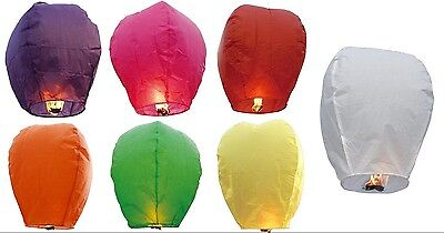 50pcs Mixed or Solid Color Chinese Paper Lanterns Sky Fire Fly Candle Lamp USA